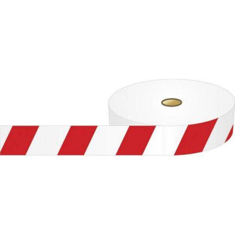 Преграждающая лента, полосатая, красно-белая, 75 мм*500 м, 1 рулон.