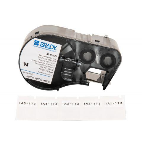 Лента с этикетками для принтера BRADY M-48-427 самоламинуючий винил, для маркировки, черный на белом, картридж 25,4мм * 19,00мм * 9,5мм, 200 шт.