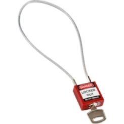 Компактный блокирующий замок, гибкая стальная дужка в ПВХ изоляции, высота дужки 200 мм, диаметр дужки 4.7 мм, цвет - красный, 1 ключ,