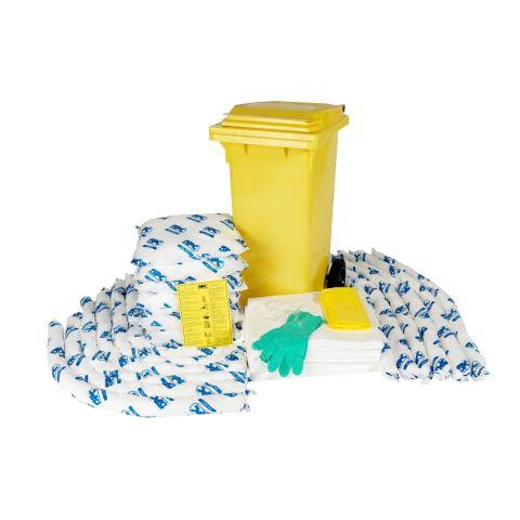 SKO-120 Мобильный комплект в контейнере для сбора проливов масла на 124л: 50 салфеток, 41 см x 51 см, 12 бонов SOC, диам. 7.6 см x 122 см, 6 подушек,