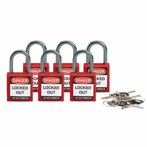 Компактные блокирующие замки, дужка - алюминий, высота дужки 25 мм, диаметр дужки 4.7 мм, цвет - красный, 1 ключ, электроизолированная личина, хим.