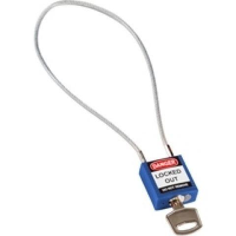Компактный блокирующий замок, гибкая стальная дужка в ПВХ изоляции, высота дужки 200 мм, диаметр дужки 4.7 мм, цвет - синий, 1 ключ,