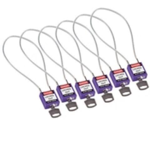 Компактные блокирующие замки, гибкая стальная дужка в ПВХ изоляции, высота дужки 200 мм, диаметр дужки 4.7 мм, цвет - фиолетовый, 1 ключ,