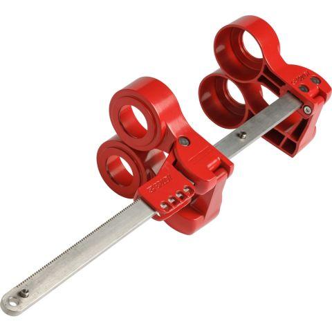 Средний блокиратор фланцевых соединений, красный. Алюминиевый сплав и нержавеющая сталь, 447х114х127 мм, диаметр трубы – 76-355 мм