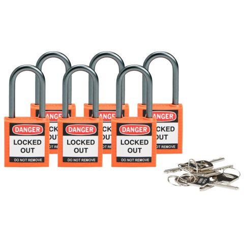 Компактные блокирующие замки, дужка - алюминий, высота дужки 38 мм, диаметр дужки 4.7 мм, цвет - оранжевый, 1 ключ, электроизолированная личина, хим.
