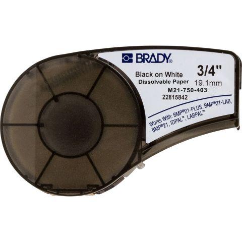 Brady M21-750-403, растворяющаяся этикетка, размеры ленты: 19,05 mm х 6,4 m, цвет маркировки: черный на белом