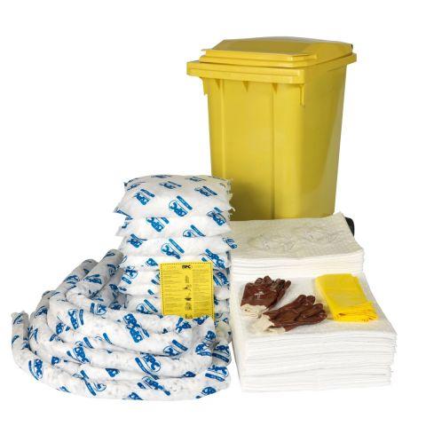 SKO-240 Мобильный комплект в контейнере для сбора проливов масла на 250л: 150 салфеток 41 см x 51 см, 6 бонов SOC диам. 7.6 см x 244 см, 8 подушек 43