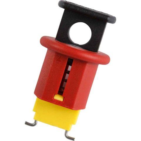 Блокиратор полюсных автоматов с средним зажимом, красный, материал – нейлон и нержавеющая сталь, 42х24 мм, ширина зажима – 15.8 мм