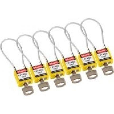Компактные блокирующие замки, гибкая стальная дужка в ПВХ изоляции, высота дужки 100 мм, диаметр дужки 4.7 мм, цвет - желтый, 1 ключ,