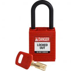 Замок SafeKey нейлон, дужка 38 мм, цвет красный