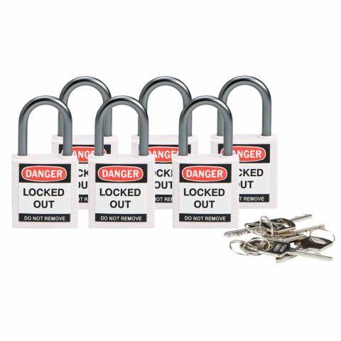 Компактные блокирующие замки, дужка - алюминий, высота дужки 25 мм, диаметр дужки 4.7 мм, цвет - белый, 1 ключ, электроизолированная личина, хим.