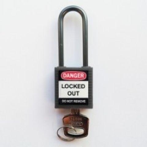 Компактные блокирующие замки, дужка - алюминий, высота дужки 50 мм, диаметр дужки 4.7 мм, цвет - серый, 1 ключ, электроизолированная личина, хим.