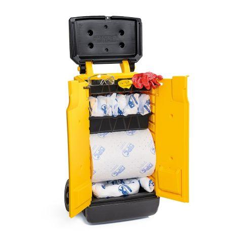 SKO-CART Комплект-шкафчик на колесах для сбора проливов масла на 69л: 1 рул.с двойной перфорацией, 38смx22м,2 бона SOC, диам.7.6x122 см,1 бон
