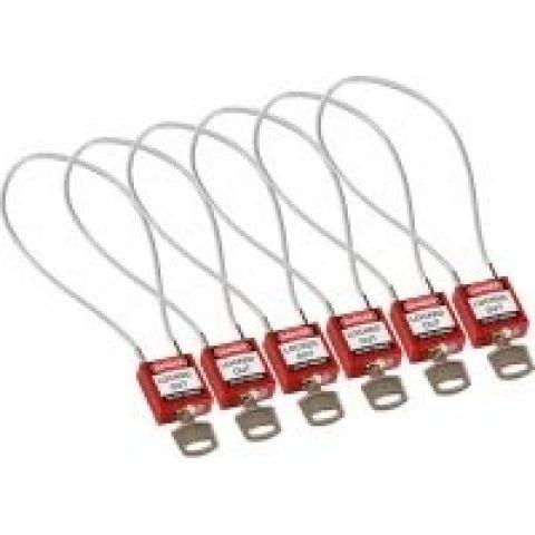 Компактные блокирующие замки, гибкая стальная дужка в ПВХ изоляции, высота дужки 200 мм, диаметр дужки 4.7 мм, цвет - красный, 1 ключ,