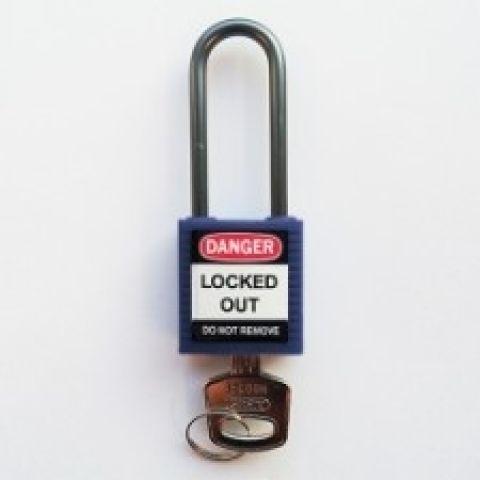 Компактные блокирующие замки, дужка - алюминий, высота дужки 50 мм, диаметр дужки 4.7 мм, цвет - синий, 1 ключ, электроизолированная личина, хим.