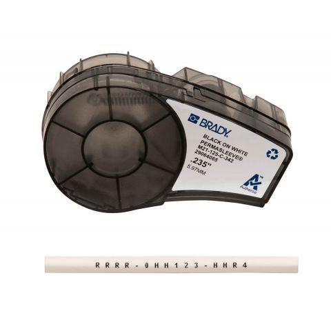 Термоусадочная трубка BRADY M21-125-C-342. Маркировка кабеля, Ø 1.2 - 2.8 мм. Цвет: черный на белом
