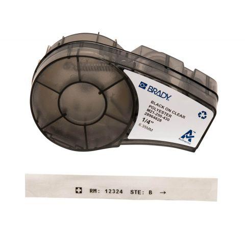 rady M21-250-430, прозрачная этикетка, размеры ленты: 6,35 мм х 6,4 м, полиэстер, цвет маркировки: черный на прозрачном