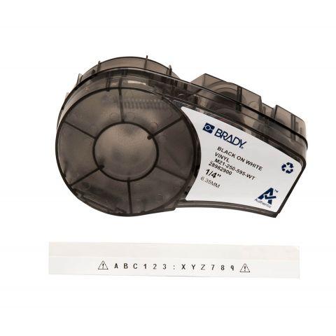 Лента для принтера этикеток BRADY M21-250-595-WT. Цветная маркировка. Картридж: 6.35 mm х 6.4 m.  Цвет: черный на белом