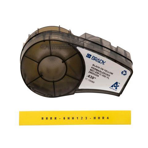 Brady M21-250-C-342-YL термоусадочная трубка, размер ленты: 11,15 мм х 2,10 м (для провода d 2,39 х 5.46 мм), цвет маркировки: черный на желтом