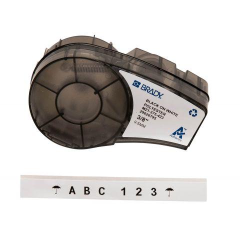 Brady M21-375-423, маркировка компонентов, размеры ленты: 9,53 mm х 6,4 m, полиэстер, цвет маркировки: черный на белом