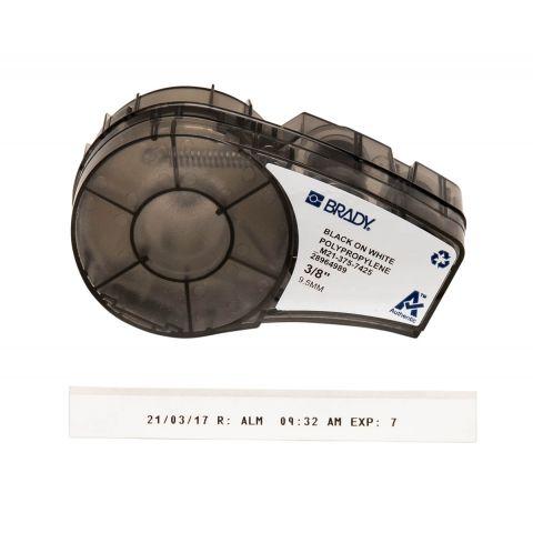 Brady M21-375-7425 лабораторная маркировка, размеры ленты: 9,53 мм х 6,4 м, полипропилен, цвета маркировки: черный на белом (матовый)