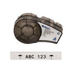 Лента для принтера этикеток BRADY M21-500-423. Маркировка: печатные платы, общая, электронных компонентов, лаборатории. Картридж: 12.7 mm х 6.4 m. Цвет: черный на белом (глянец).