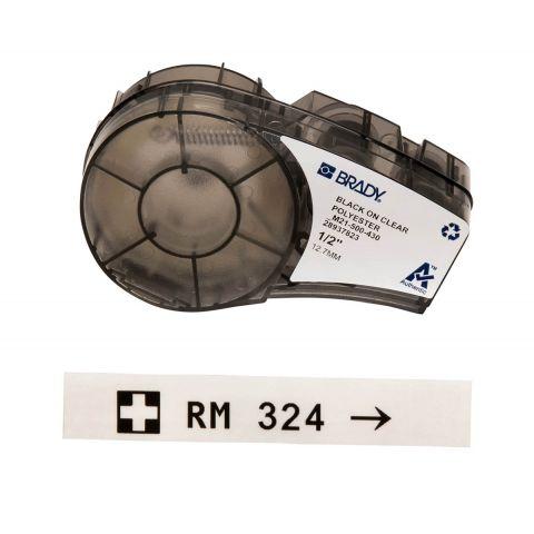 Лента для принтера этикеток BRADY M21-500-430, Прозрачная этикетка. Картридж: 12.7 mm х 6.4 m. Черный на прозрачном