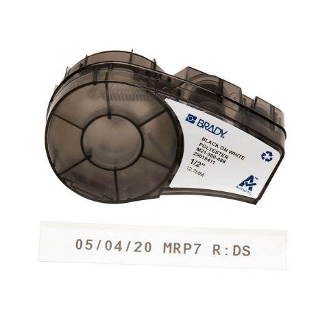 Лента для принтера этикеток BRADY  M21-500-488. Маркировка печатных плат, электроники, компонентов, штрих-коды. Картридж: 12.7 mm х 6.4 m. Цвет: черный на белом (матовая)