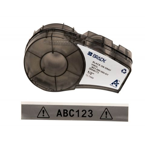 Brady M21-500-595-GY размер ленты: 12,7 мм х 6,4 м, винил, цвет маркировки: черный на сером