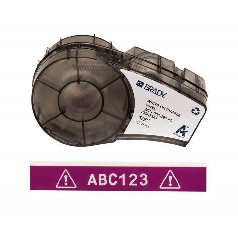 Лента для принтера этикеток BRADY M21-500-595-PL. Цветная маркировка. Картридж: 12.7 mm х 6.4 m. Цвет: белый на фиолетовом
