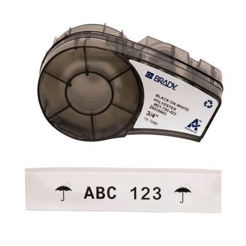 Brady M21-750-423, маркировка компонентов, лента этикеток, размеры ленты: 19,05 mm х 6,4 m, полиэстер, цвет маркировки: черный на белом