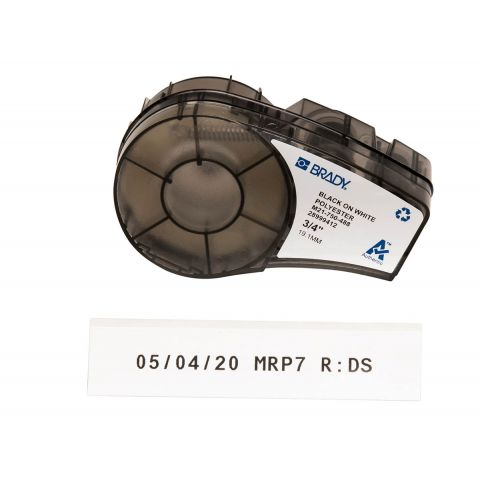 Brady M21-750-488, маркировка компонентов, размеры ленты: 19,05 mm х 6,4 m, полиэстер, цвет маркировки: черный на белом