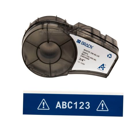 Лента для принтера этикеток BRADY M21-750-595-BL. Цветная маркировка. Картридж: 19.05 mm х 6.4 m. Цвет: белый на синем