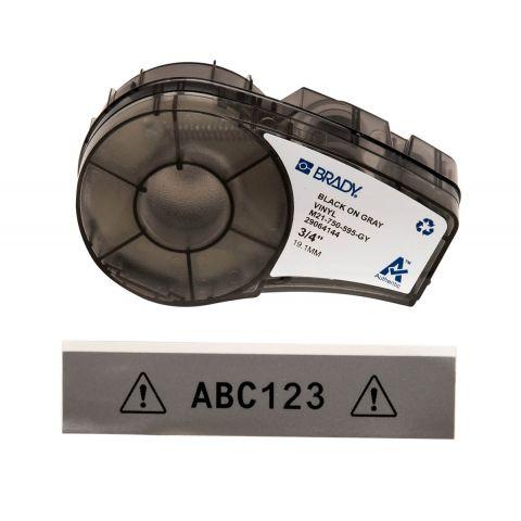 Лента для принтера этикеток BRADY M21-750-595-GY. Цветная маркировка. Картридж: 19.05 mm х 6.4 m. Цвет: черный на сером