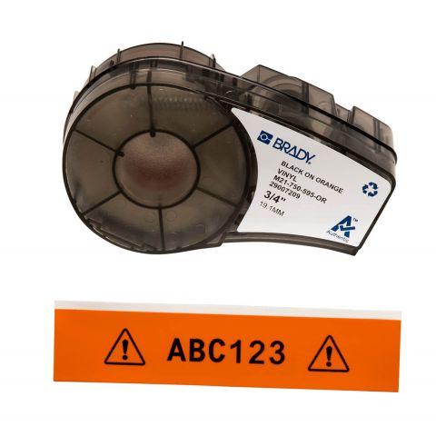 Brady M21-750-595-OR, размер ленты: 19,05 mm х 6,4 m, винил, цвет маркировки: черный на оранжевом