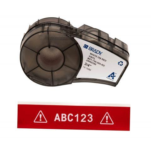 Brady M21-750-595-RD лента 19.05mm/6.4m винил, (белый на красном)
