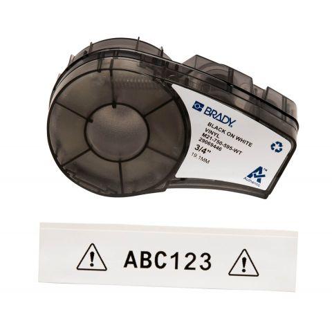 Лента для принтера этикеток BRADY M21-750-595-WT. Цветная маркировка. Картридж: 19.05 mm х 6.4 m. Цвет: черный на белом
