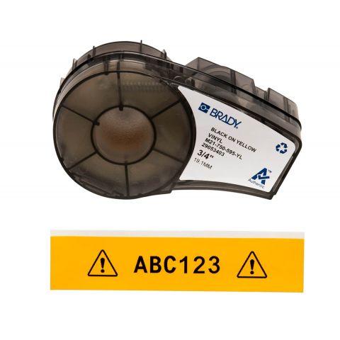 Лента для принтера этикеток BRADY M21-750-595-YL. Цветная маркировка. Картридж: 19.05 mm х 6.4 m. Цвет: черный на желтом